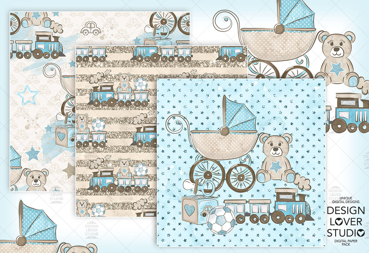 Baby Boy digital paper pack example image 2