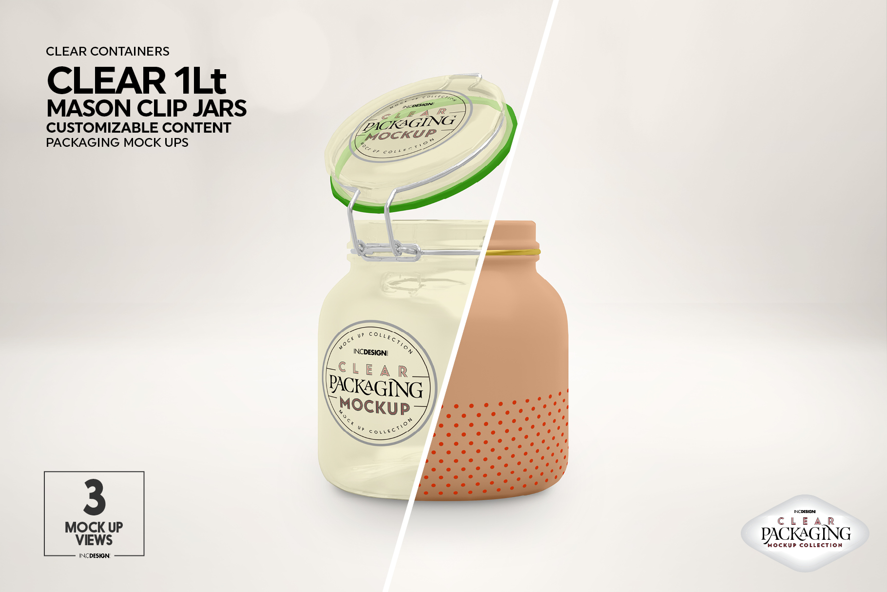 Clear 1Liter Mason Clip Jar Packaging Mockup example image 6