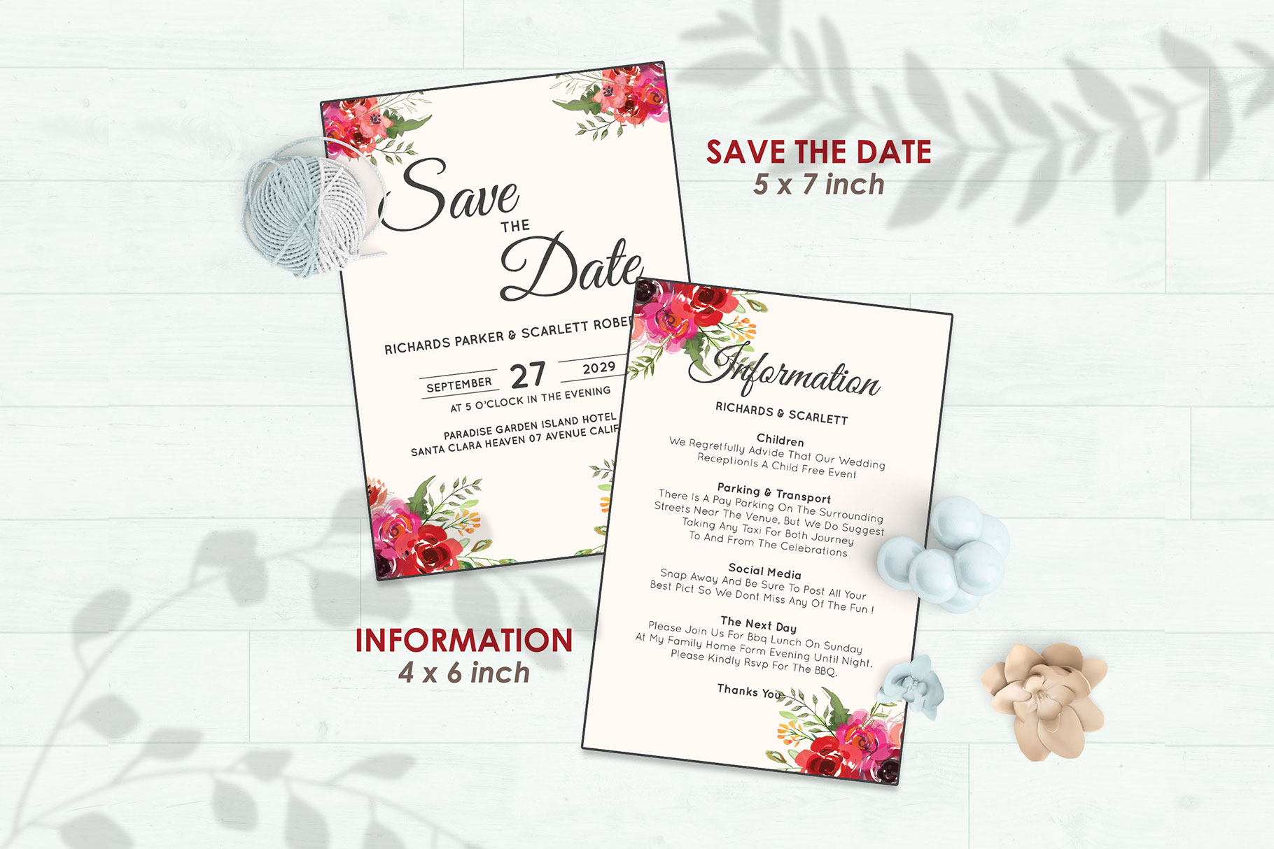 Wedding Invitation Set #2 Watercolor Floral Flower Style example image 3