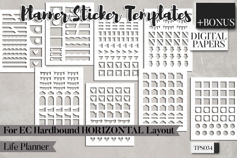 Planner sticker templates, Erin Condren Hardbound Horizontal example image 4