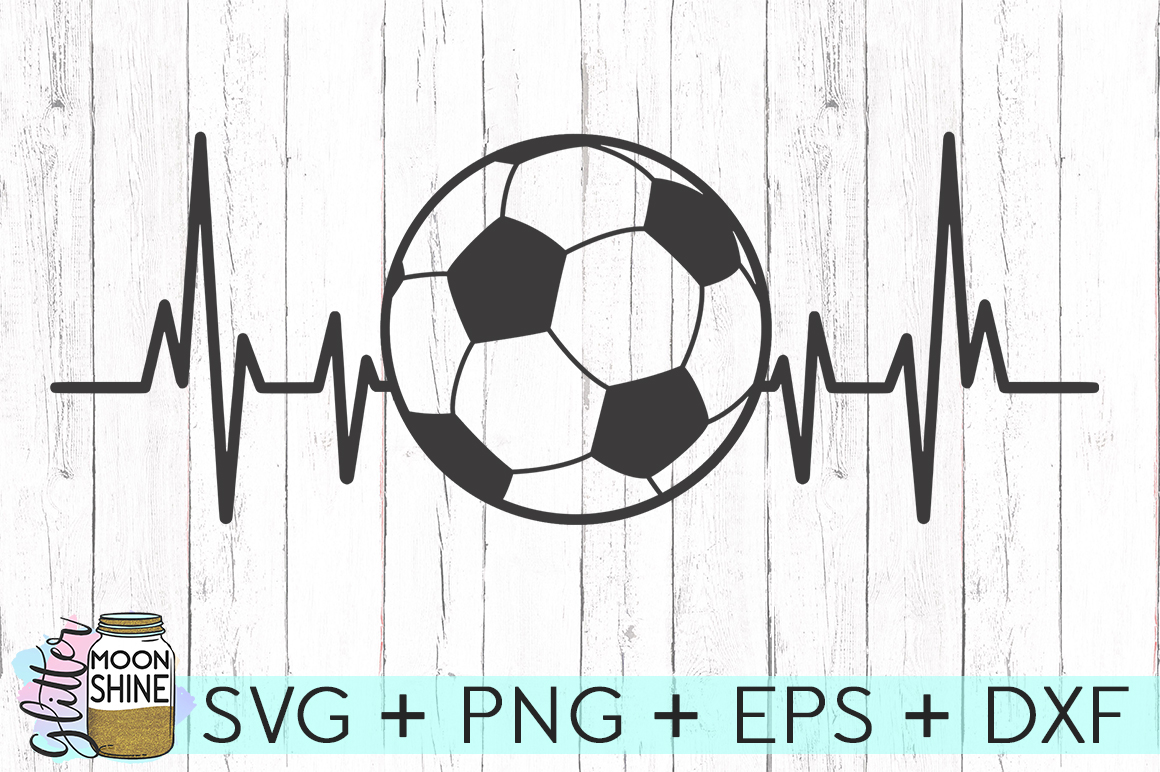 Soccer Heartbeat SVG DXF PNG EPS Cutting Files example image 1