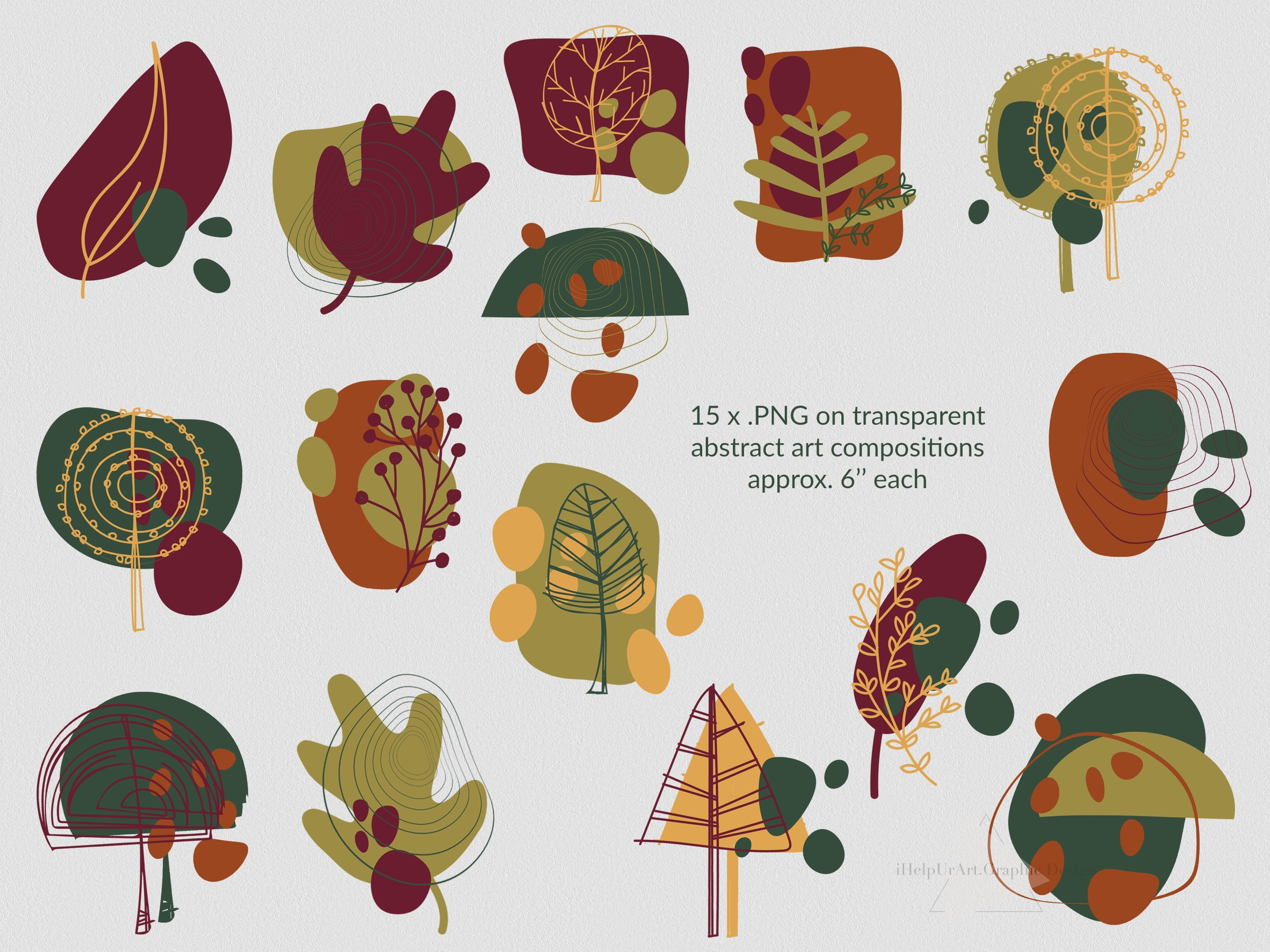 Modern Abstract Design Bundle - Autumn Clip Art example image 6