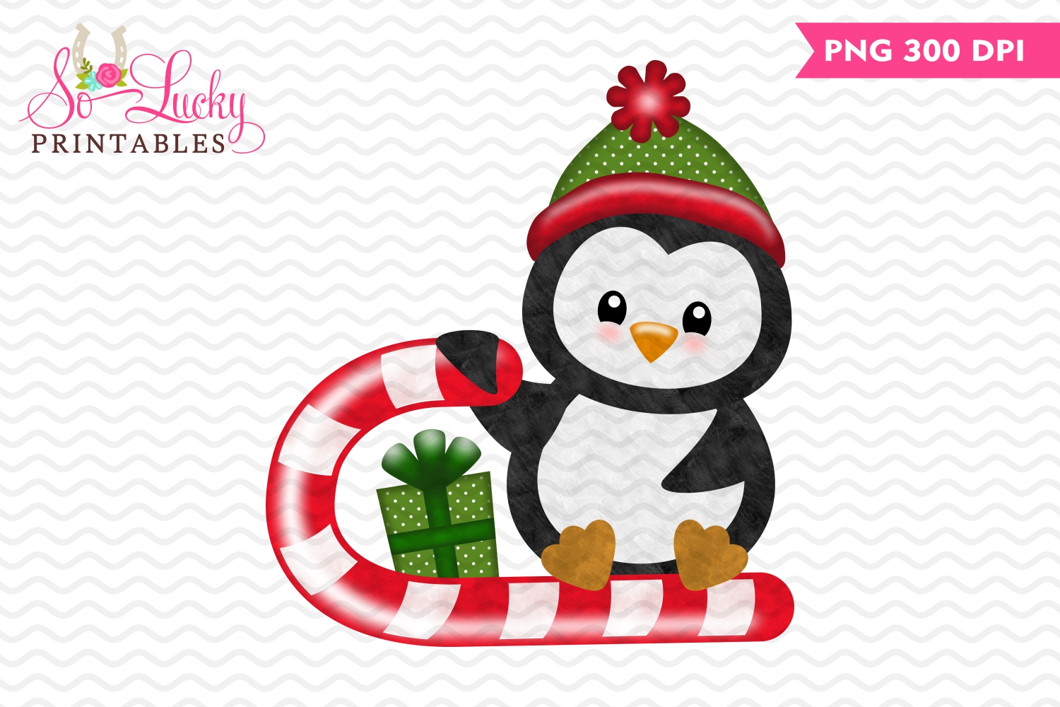 Christmas penguin watercolor printable sublimation design example image 1