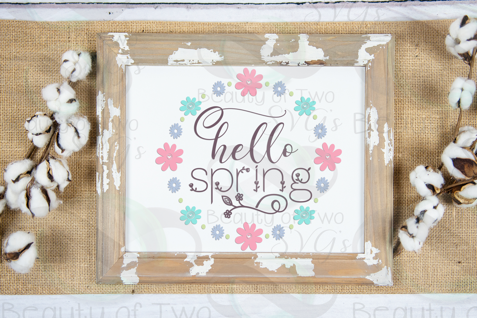Hello Spring Wreath svg, Spring Flowers svg, Spring svg example image 2