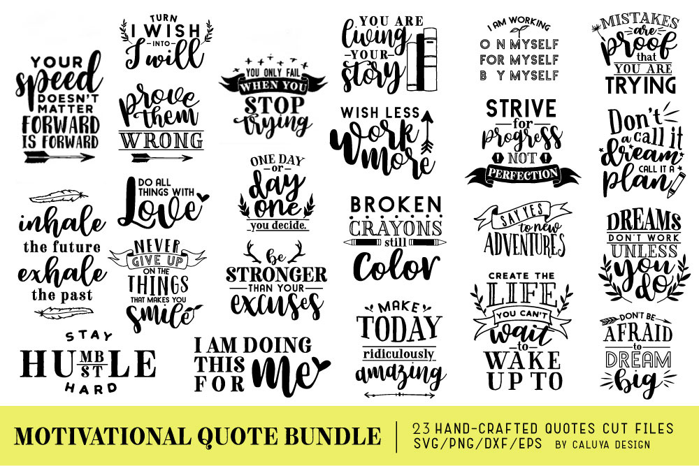 Motivational Quote SVG Cut Files Bundle example image 1