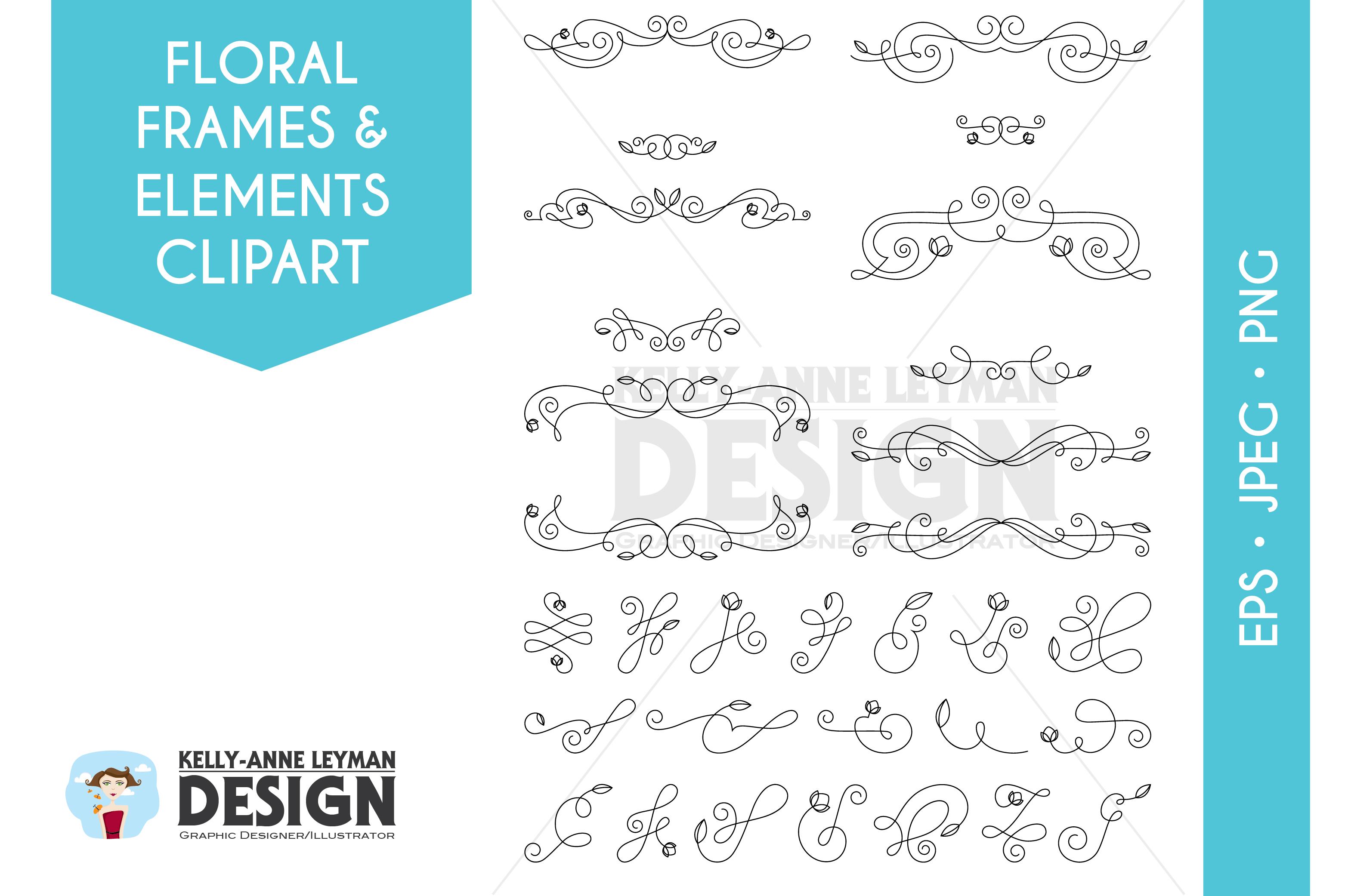 Floral Digital Frames Clipart, Digital Labels clipart set example image 2