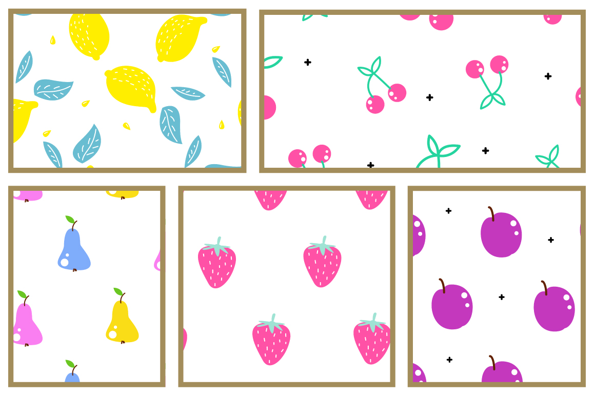 Fresh Fruits - Seamless Patterns example image 2