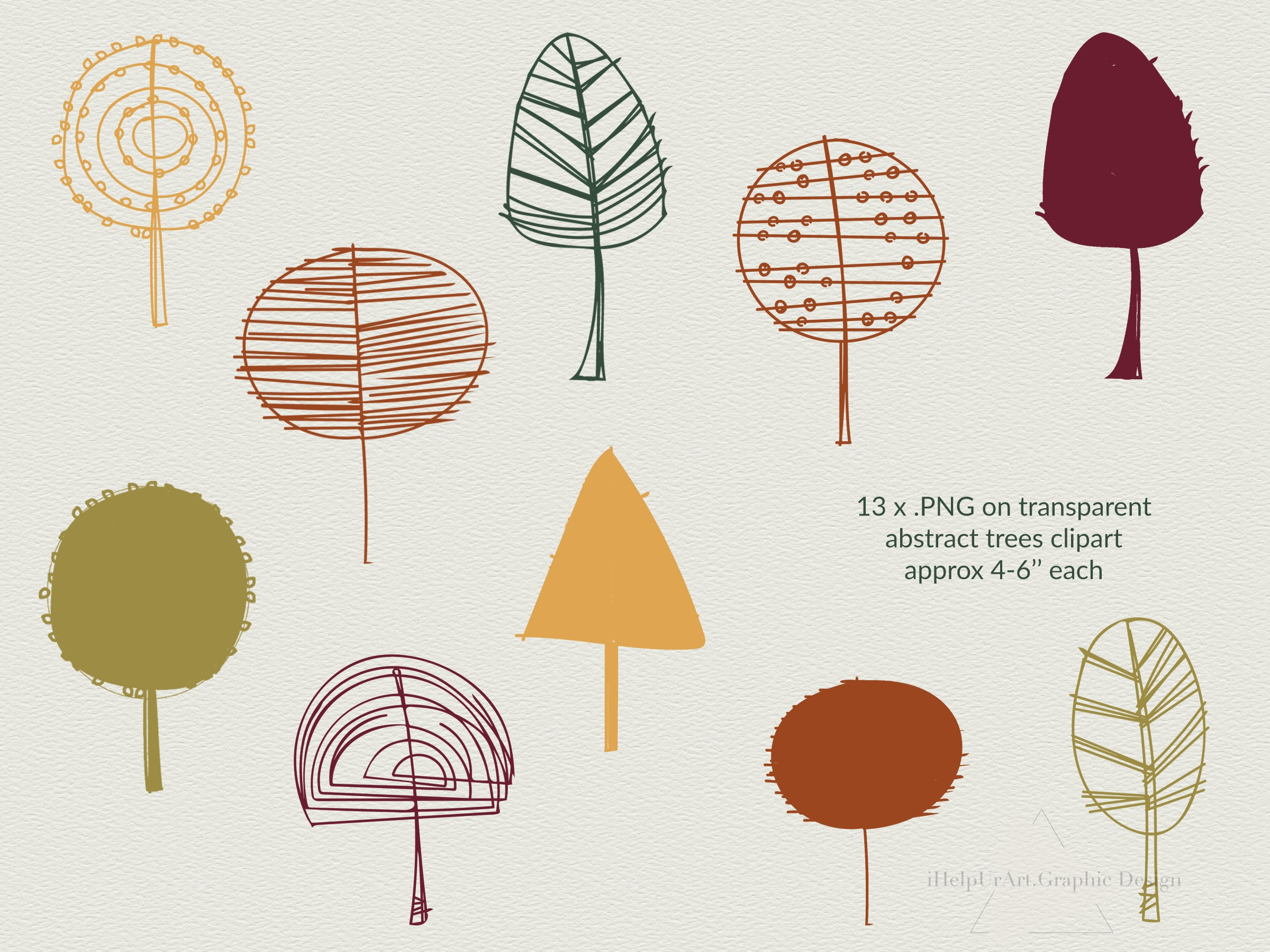 Modern Abstract Design Bundle - Autumn Clip Art example image 8