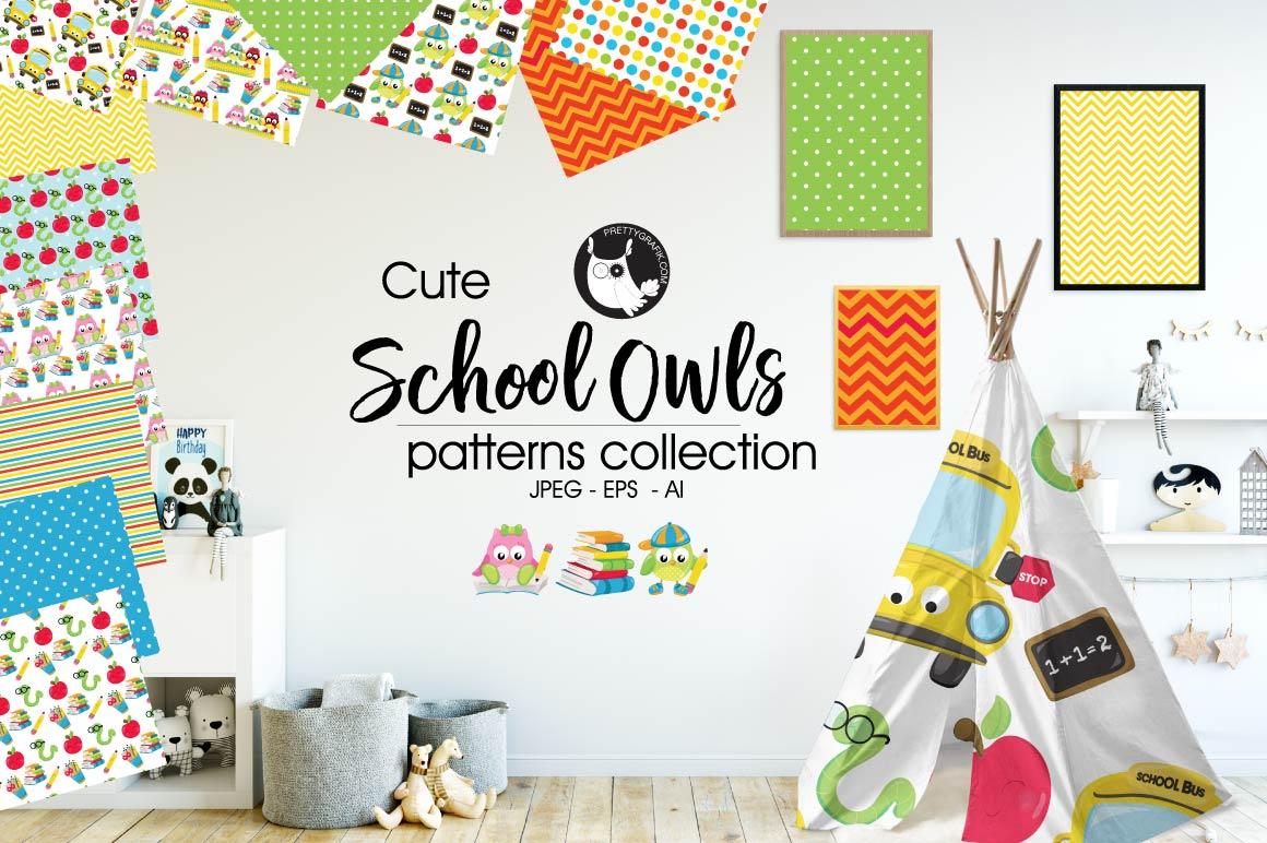 SCHOOL-OWLS, digital papers example image 1
