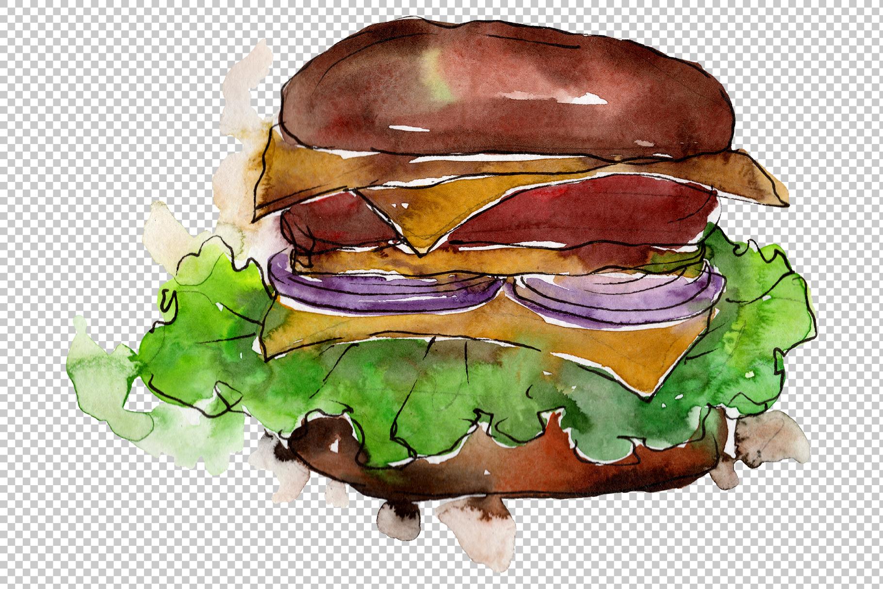 European Hamburger Watercolor png example image 4