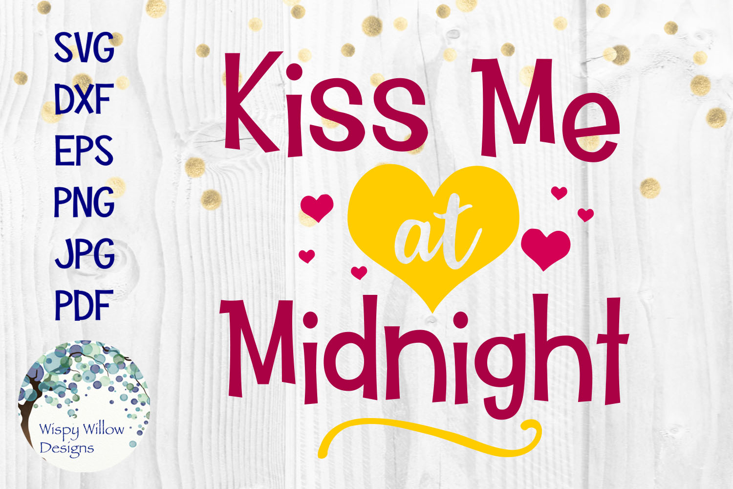 New Year's Eve SVG Cut File Bundle | Kiss Me at Midnight SVG example image 2