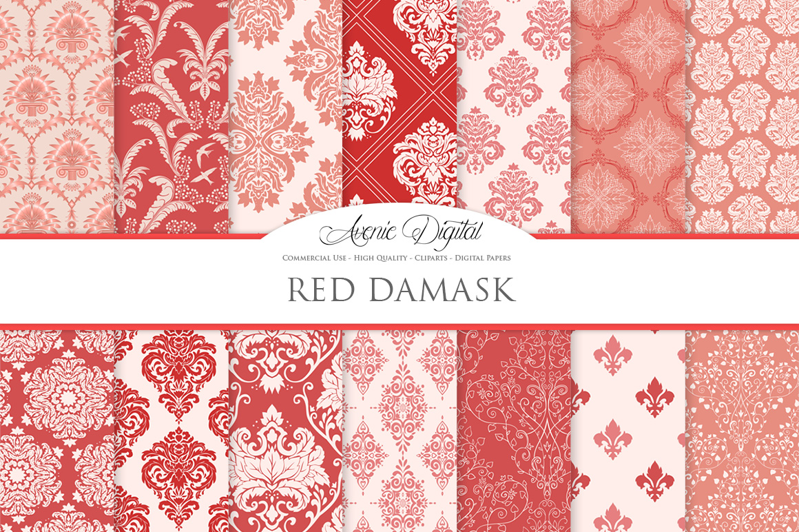 28 Red Damask Patterns - Seamless Digital Papers Bundle example image 2