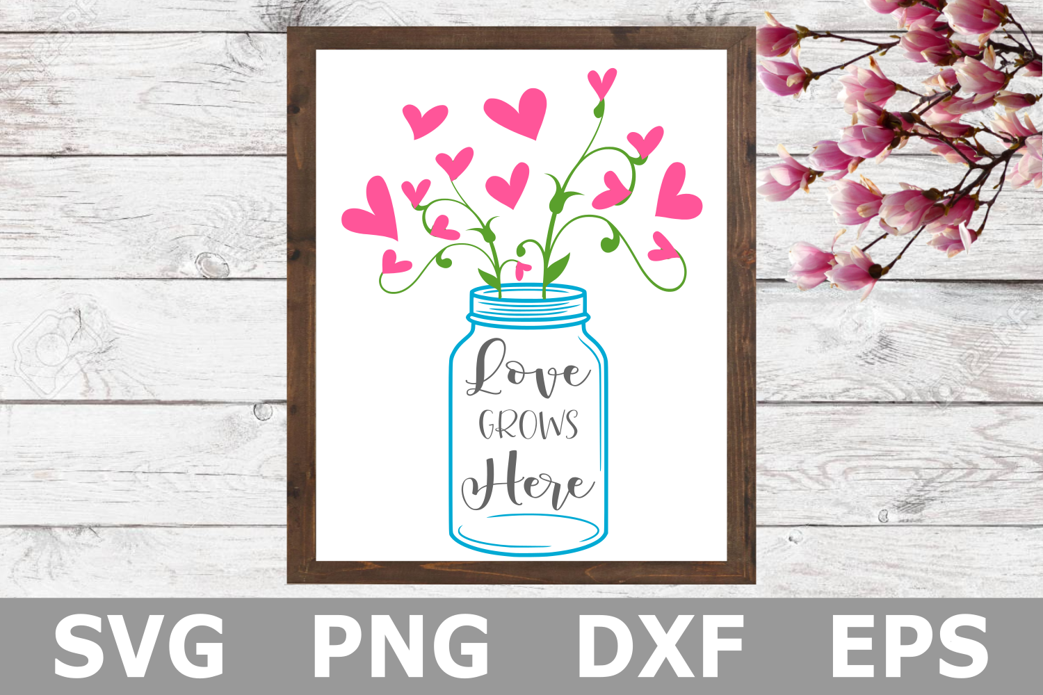 Love Grows Here - A Family SVG Cut File example image 1