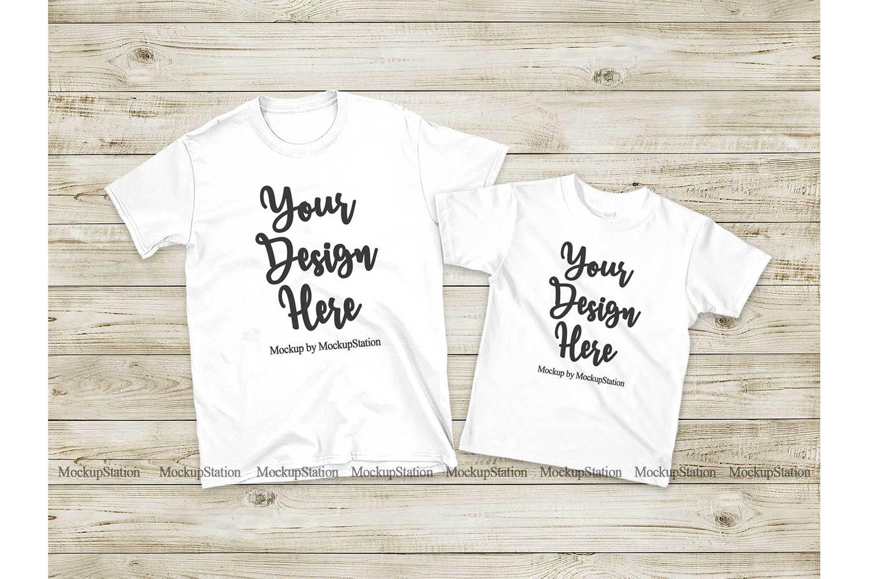 Matching Family T Shirts Mockup Parents Kids White Shirts