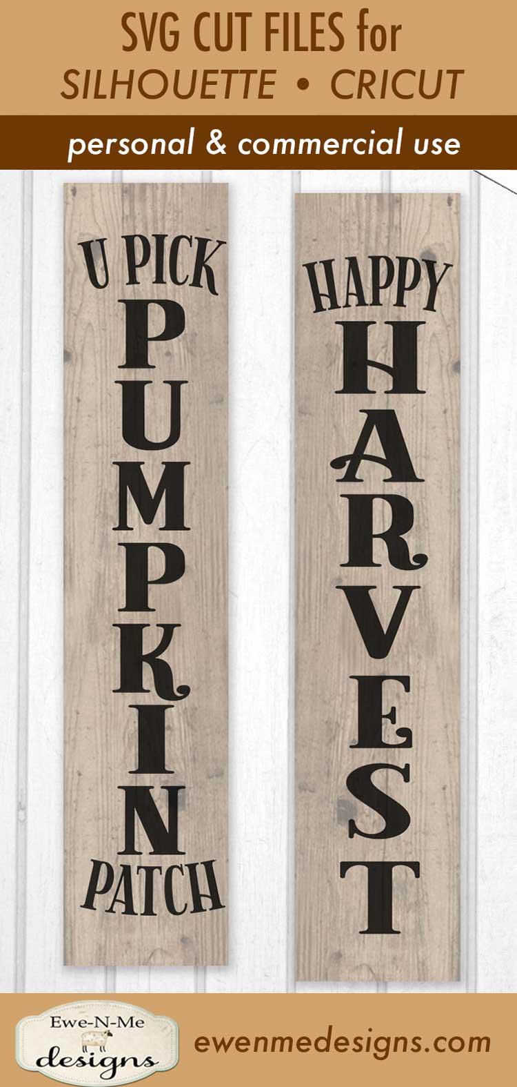 Pumpkin Patch - Happy Harvest - Vertical Porch Sign SVG Cut example image 3