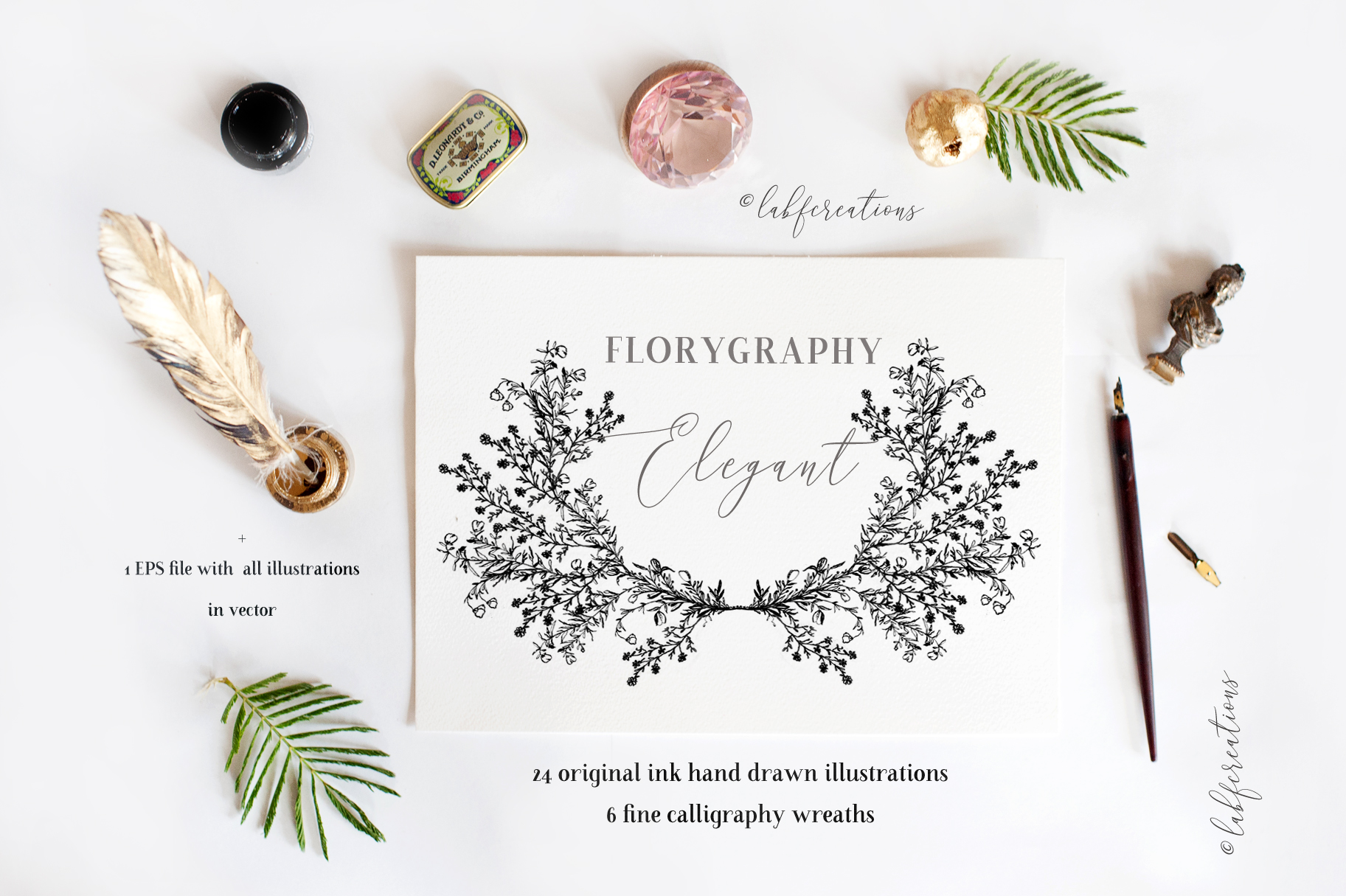 Ink calligraphy illustrations. Floral. Florigraphy Elegant. example image 5