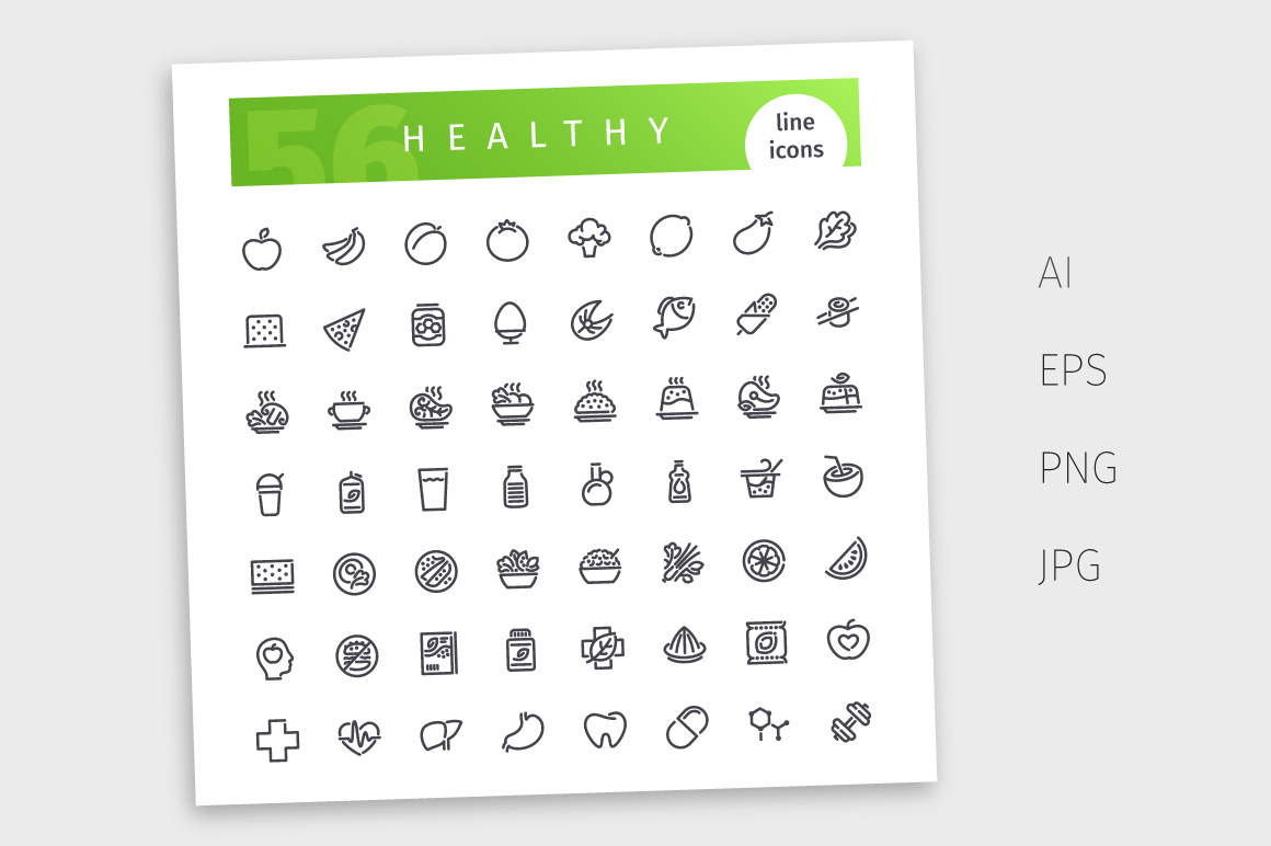 Healthy Food Line Icons Set example image 3