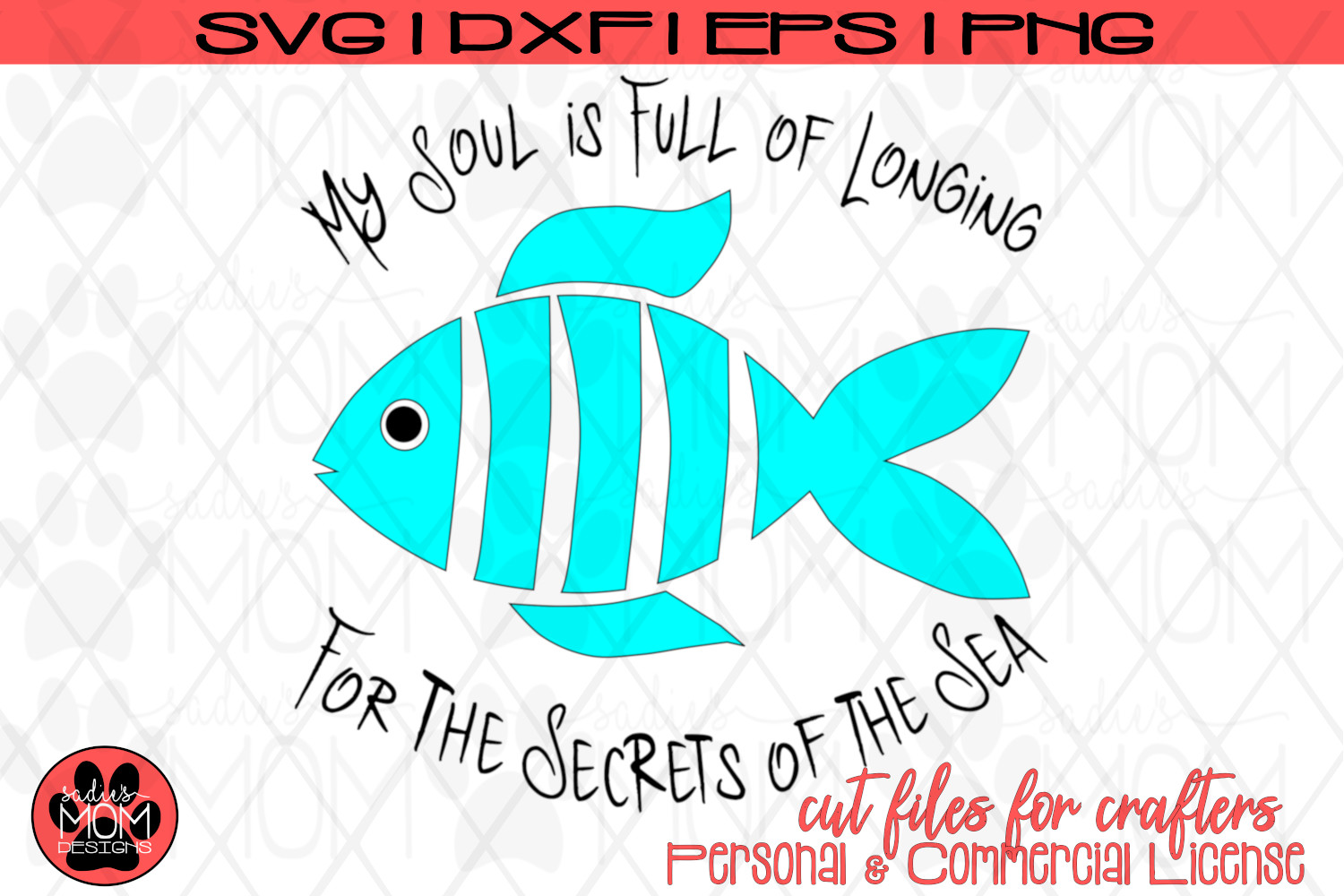 Whimsical Fish Design - Longfellow Secrets of the Sea | SVG example image 2