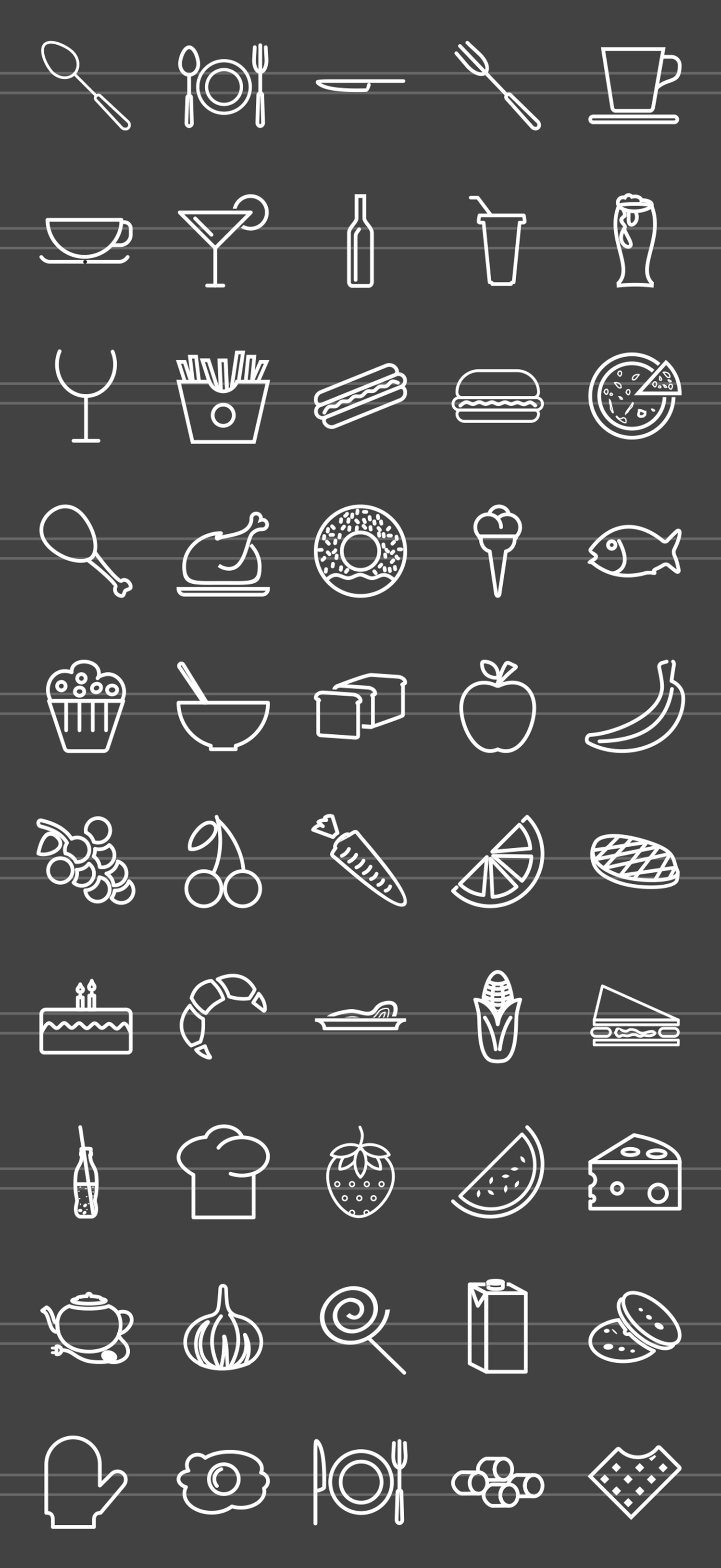 50 Food & Drinks Line Inverted Icons example image 2