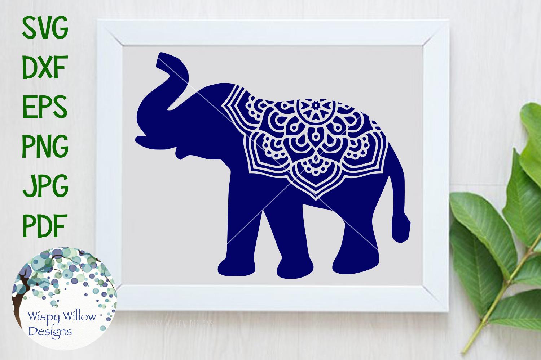 Elephant Mandala, Animal Mandala SVG Cut File example image 1