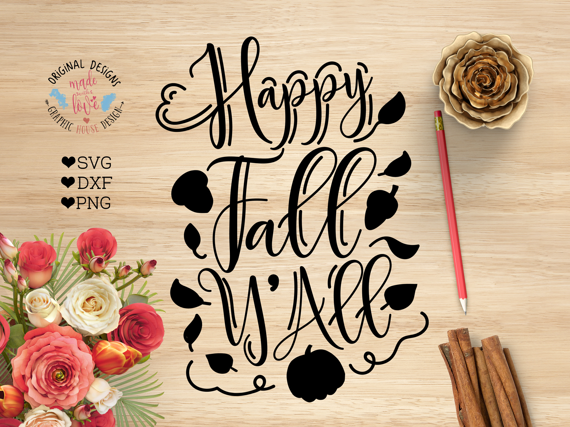 Download Happy Fall Y'all Cut File SVG, DXF, PNG (30048) | SVGs ...