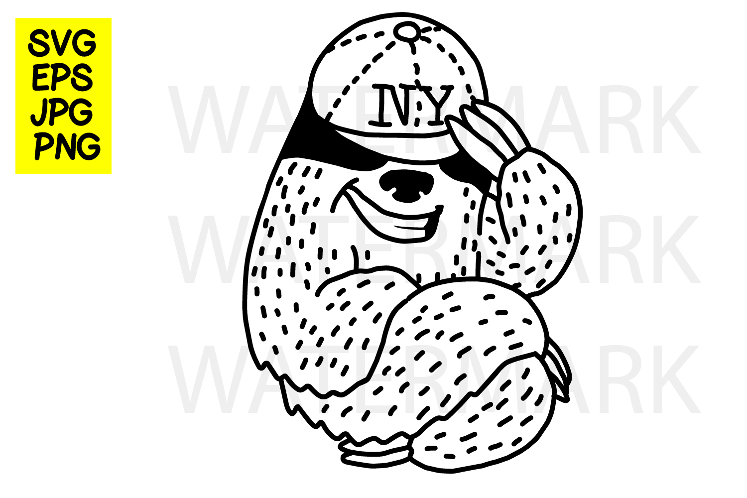 Sloth with cap- SVG-EPS-JPG-PN example image 1