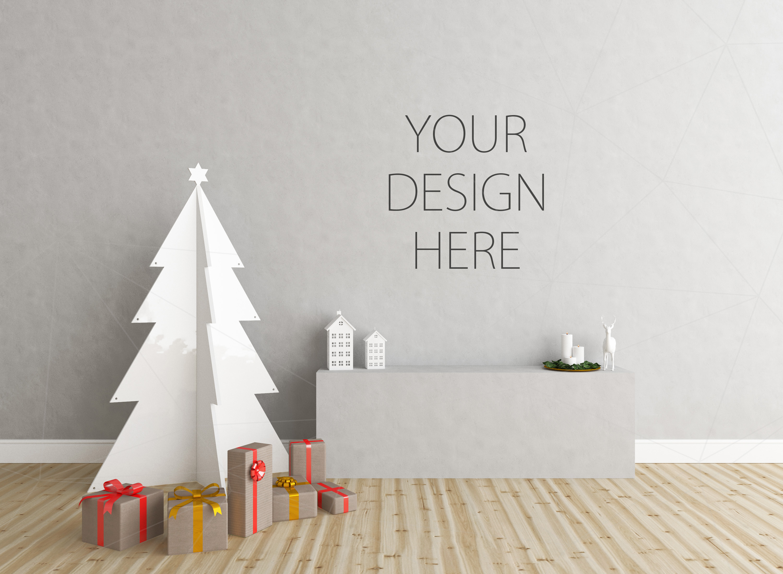 Christmas interior mockup bundle - blank wall mock up example image 2