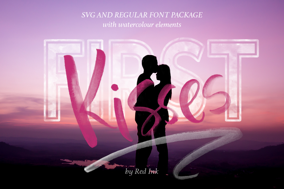First Kisses. SVG Font Collection. example image 1