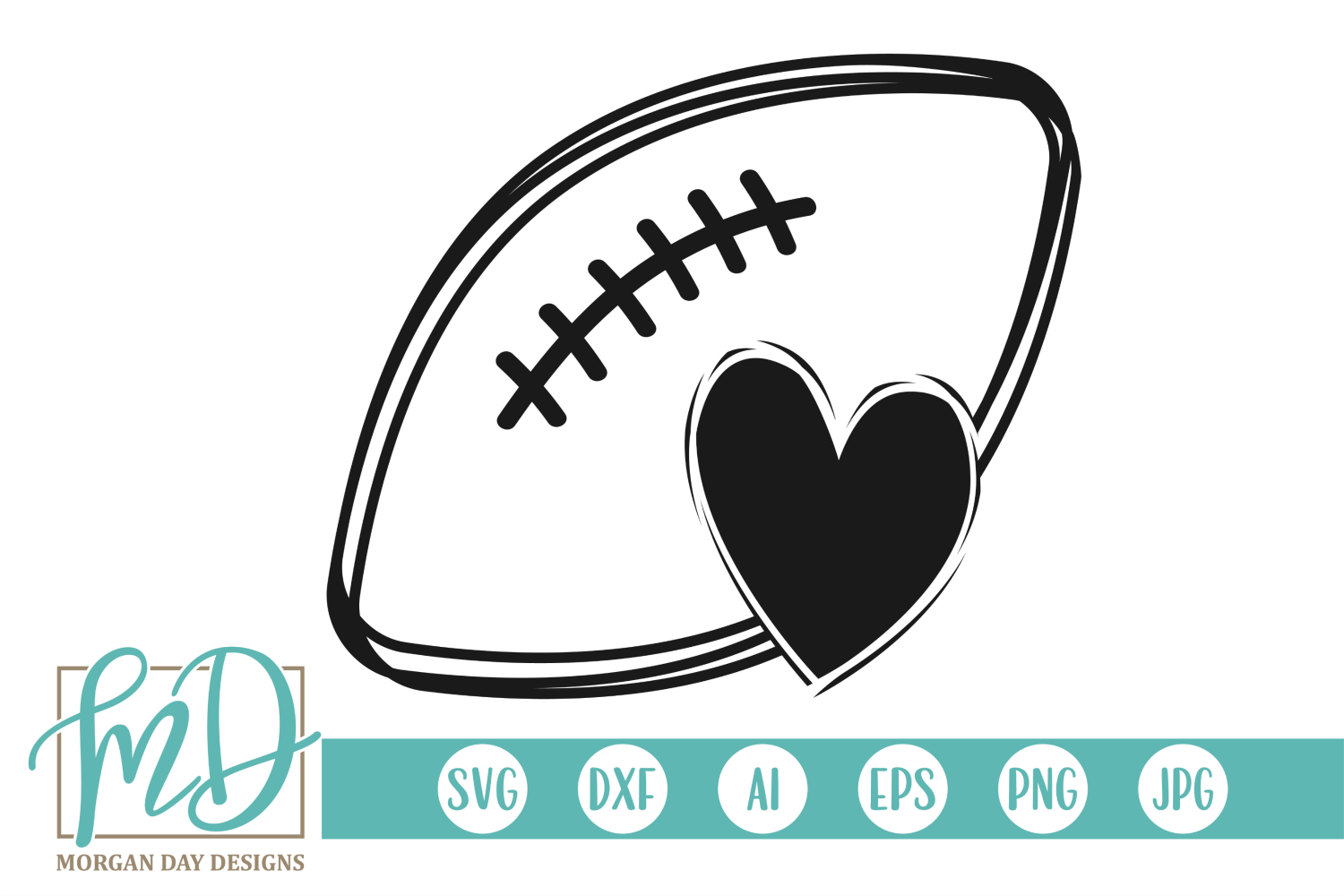 Football with Heart SVG, DXF, AI, EPS, PNG, JPEG example image 1