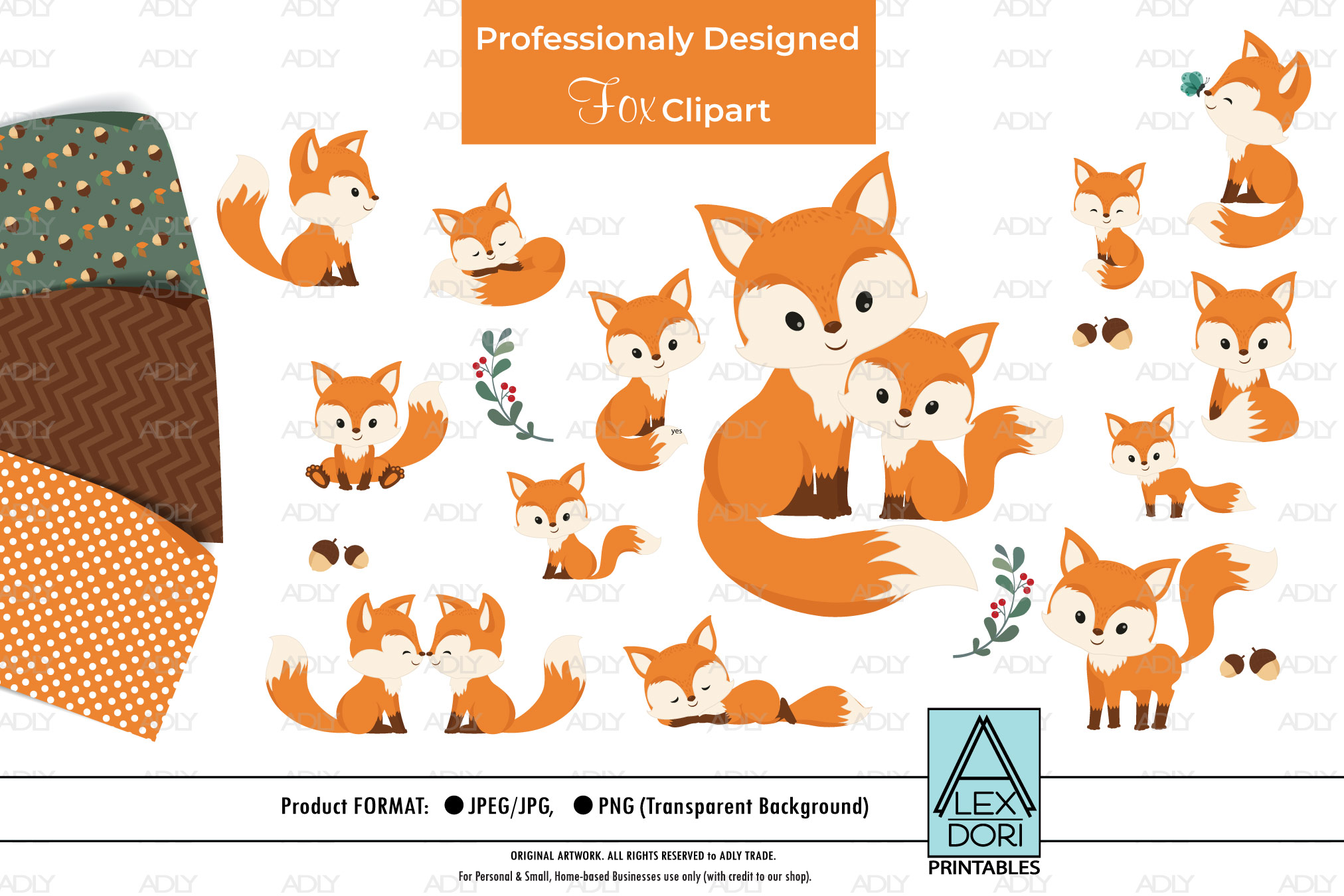 Baby and Baby with Mom Fox Clipart plus Background set 3 example image 1