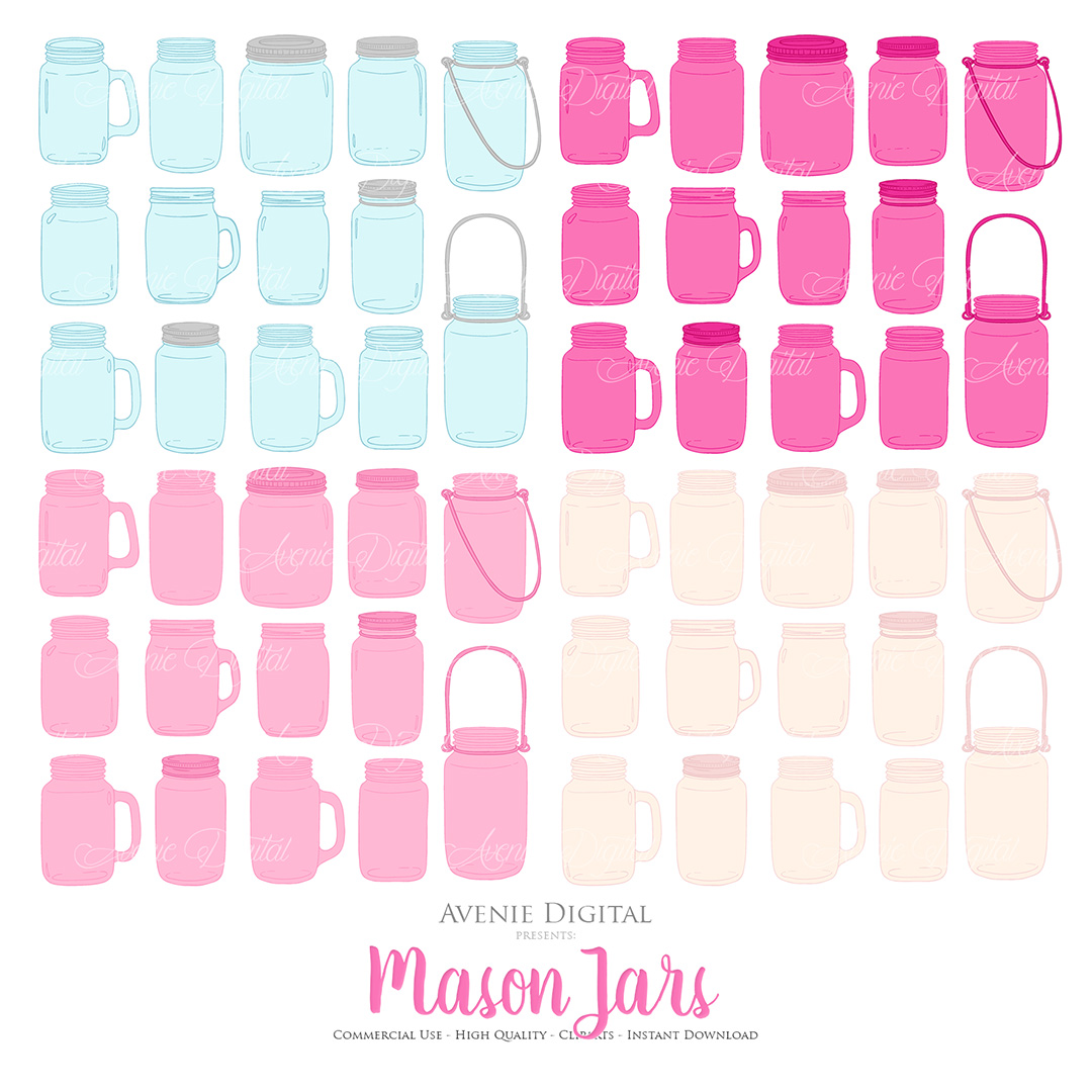 Hot Pink Mason Jar Floral Wedding Clipart example image 4