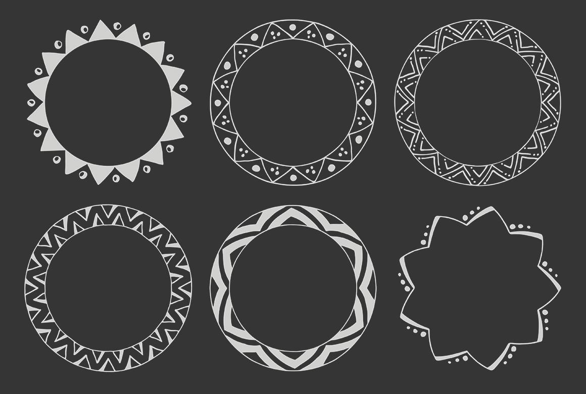 90 Hand Drawn Decorative Round Frames example image 10