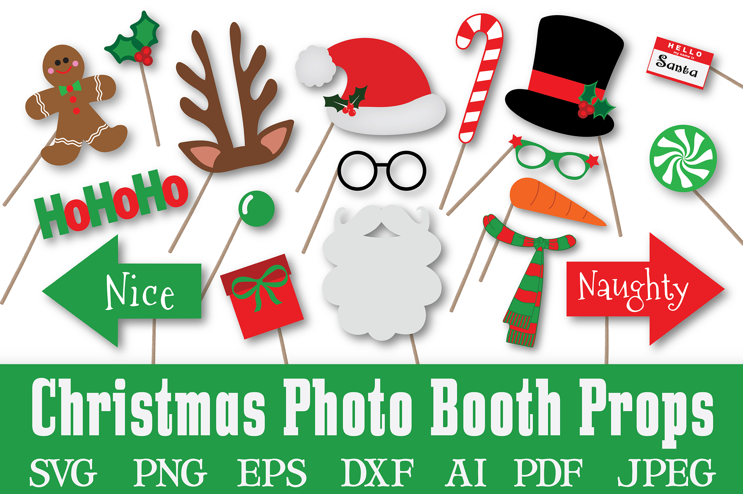 Christmas Photo Booth Props - SVG Cut File - PNG - DXF example image 1