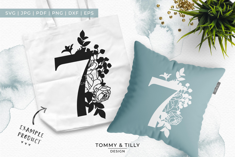 7 Floral Bouquet Number Design - Paper Cut SVG EPS DXF PNG example image 6