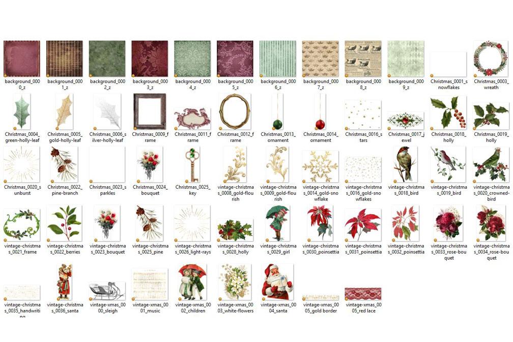Vintage Christmas Digital Scrapbooking Kit example image 3