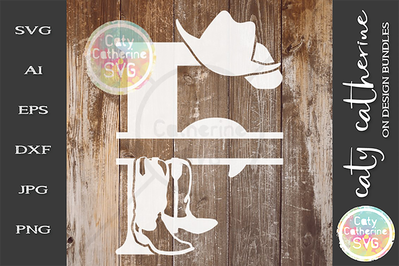 Letter F Cowboy Monogram SVG Includes Cowboy Boots example image 1