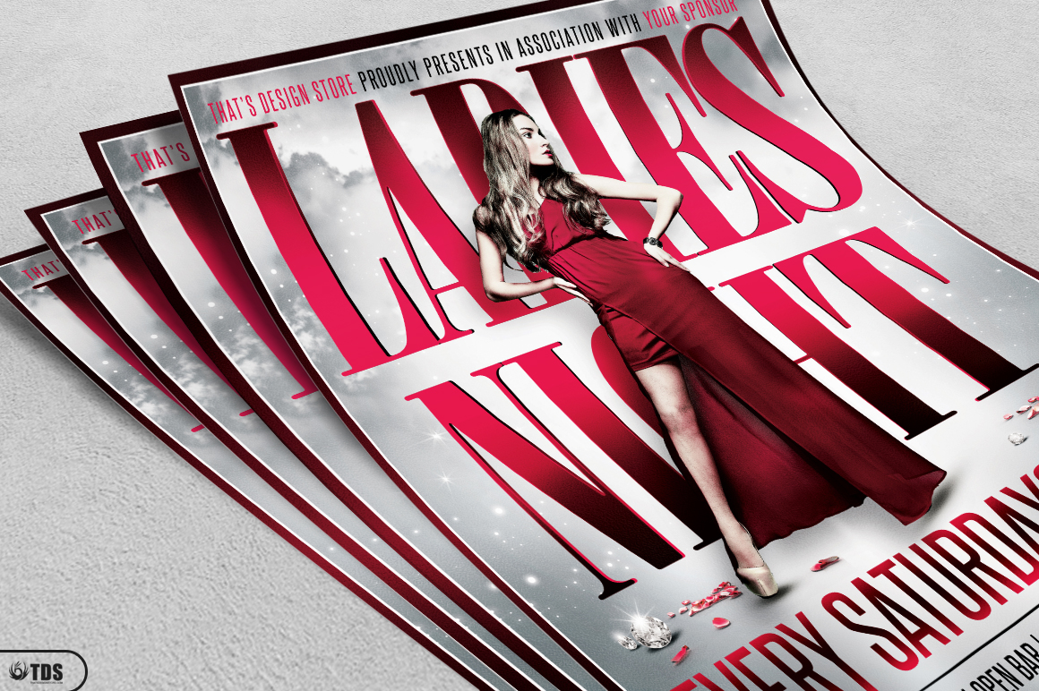 Ladies Night Flyer Poster Template V2 example image 3