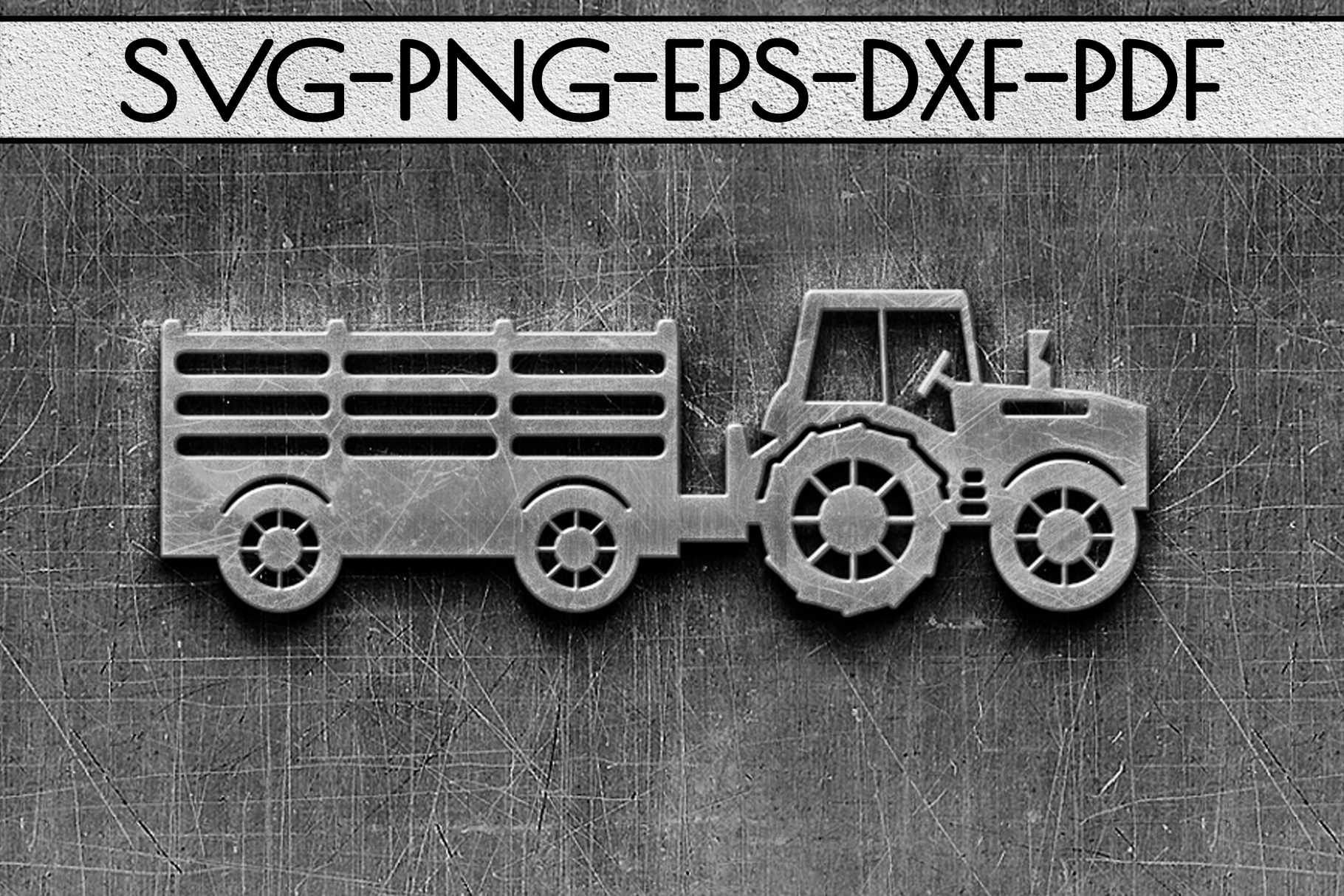 Farm Tractor Papercut Template, Farmhouse Decor, PDF, SVG example image 2
