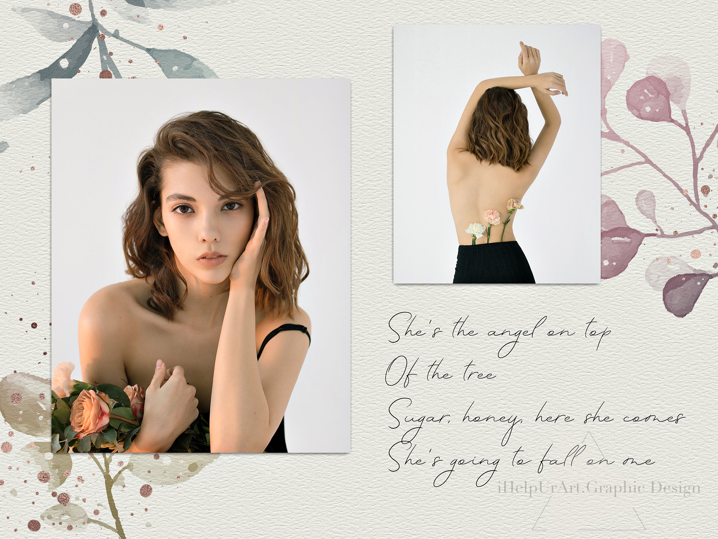 Watercolor and Rose Gold Floral Clipart example image 2