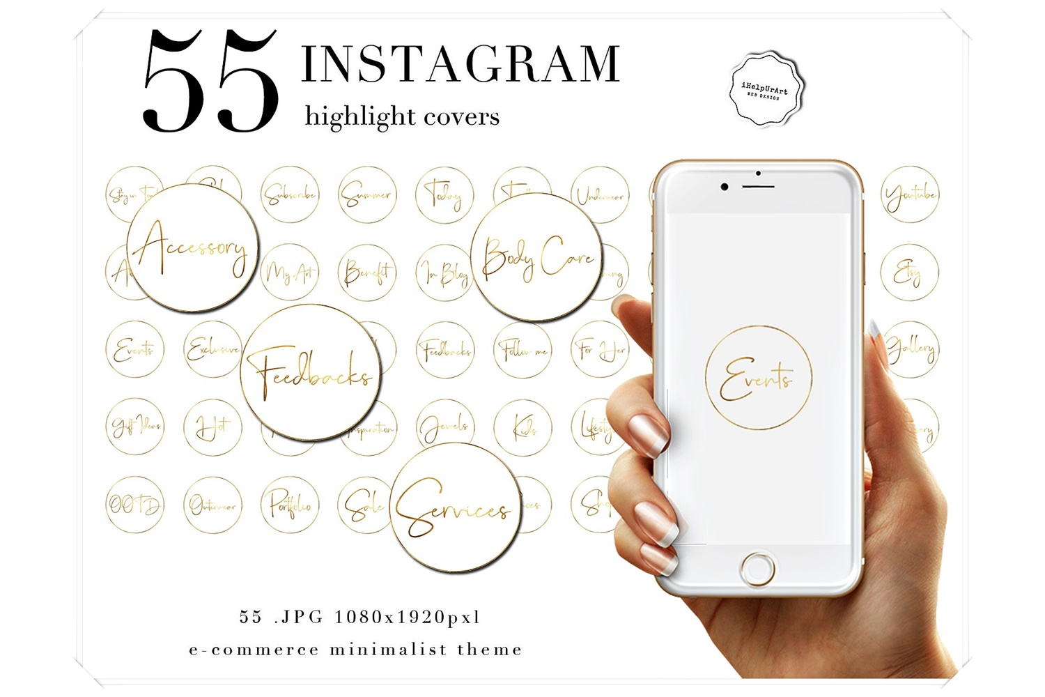 Instagram Story Text Icons - White and Gold Icons example image 1