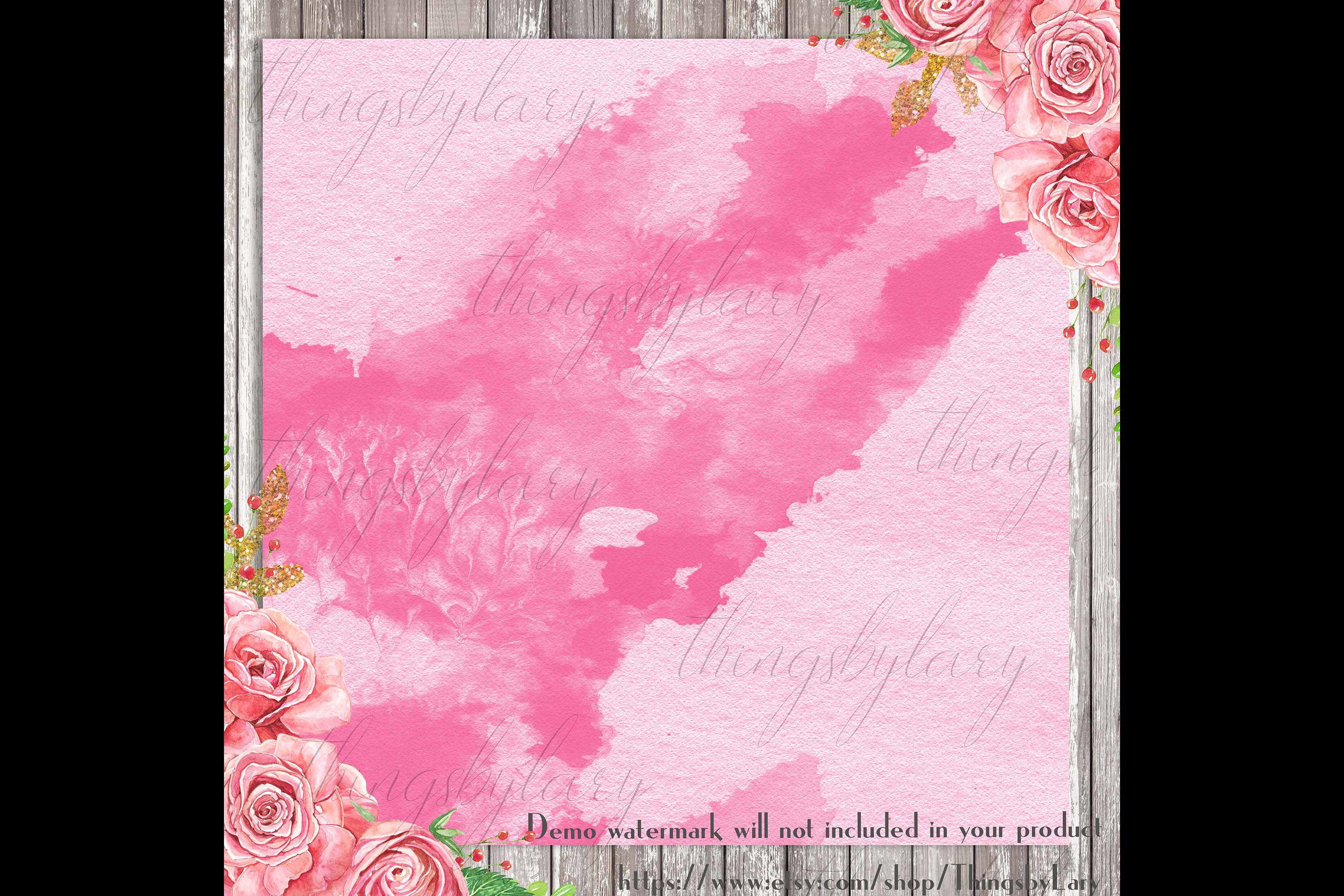 30 Ombre Aloe & Hot Pink Spring Watercolor Digital Papers example image 2