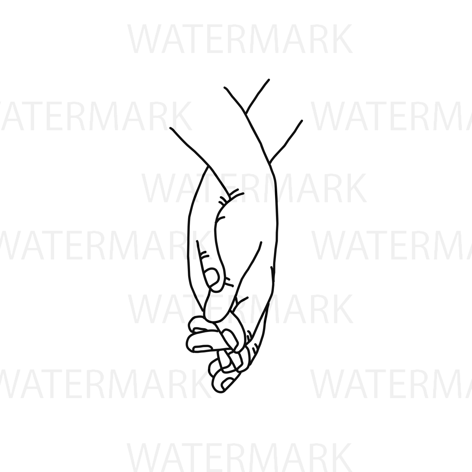 Holding Hand and walk along with love - SVG/JPG/PNG Hand Drawing example image 2
