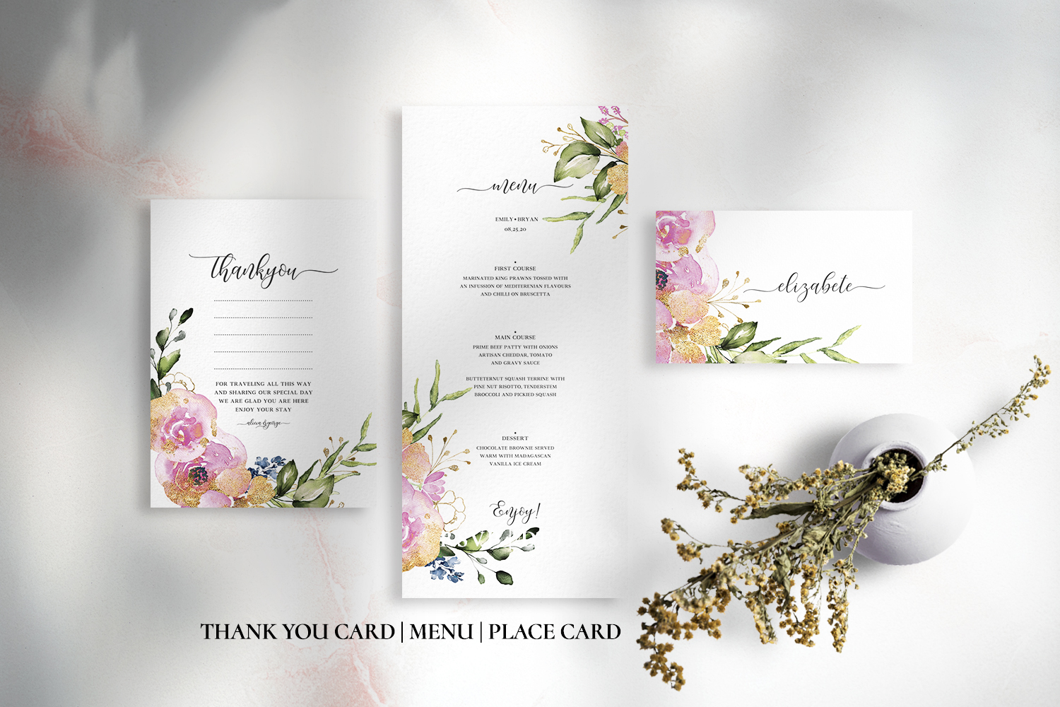 Rose & Gold Floral Wedding Suite example image 2