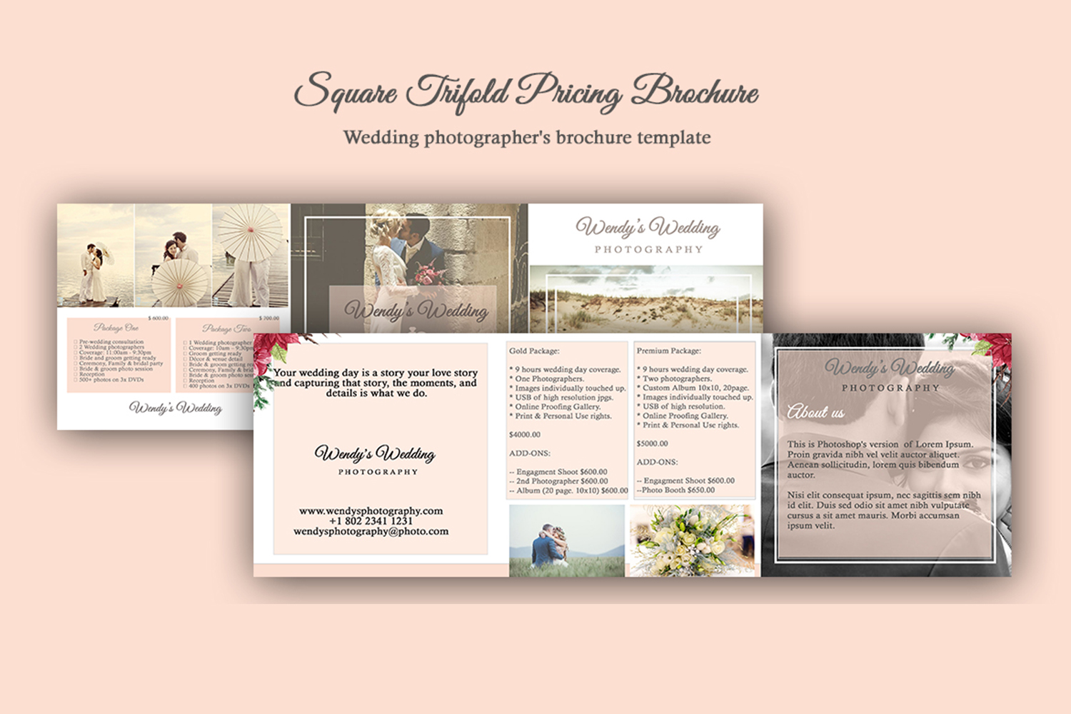 Wedding Trifold Pricing Brochure | 5X5 - Instant Instant dow example image 2