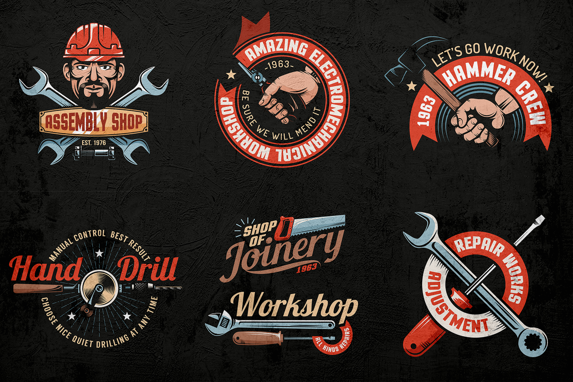 Workshop Color Emblems On Dark example image 3