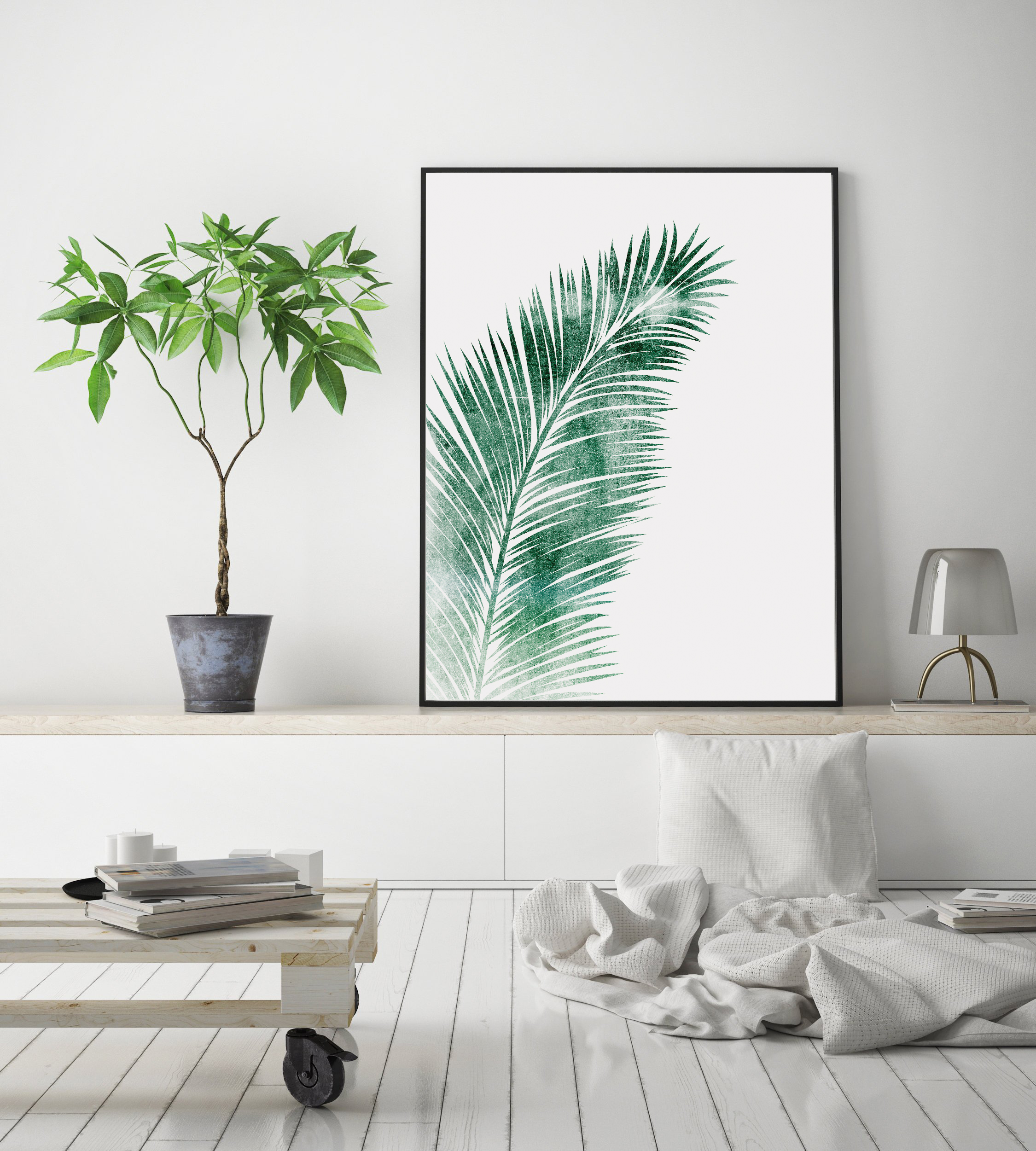 Green Palm Leaf Wall Art, Tropical Leaf for Living Room example image 3