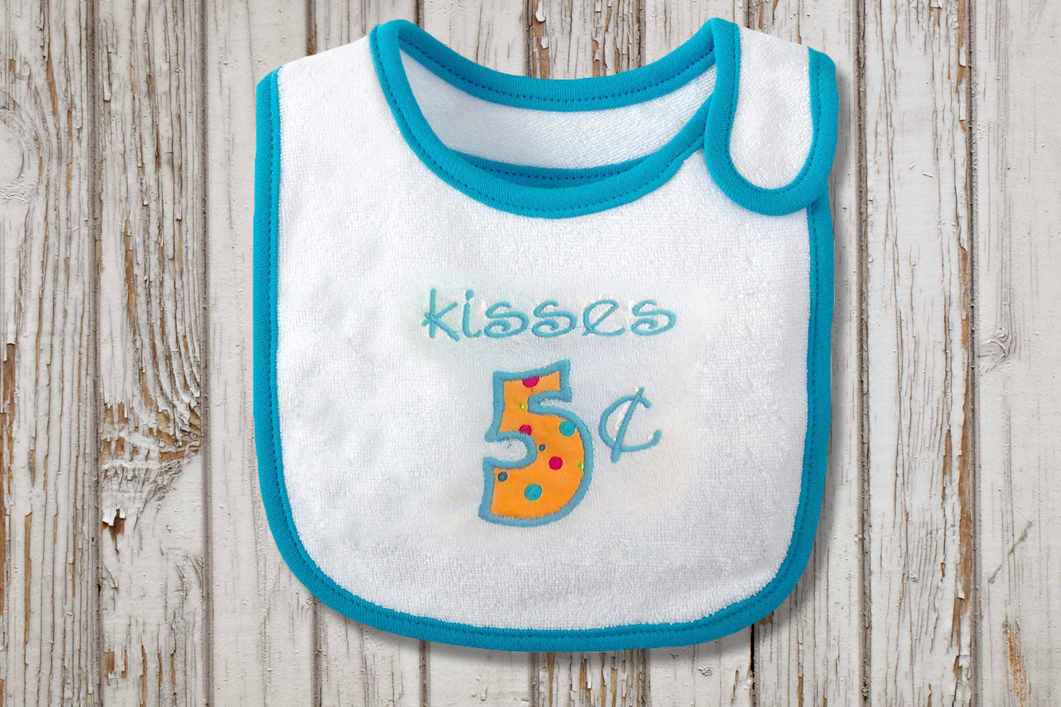 Kisses 5 Cents Valentine's Day Applique Embroidery Design example image 2