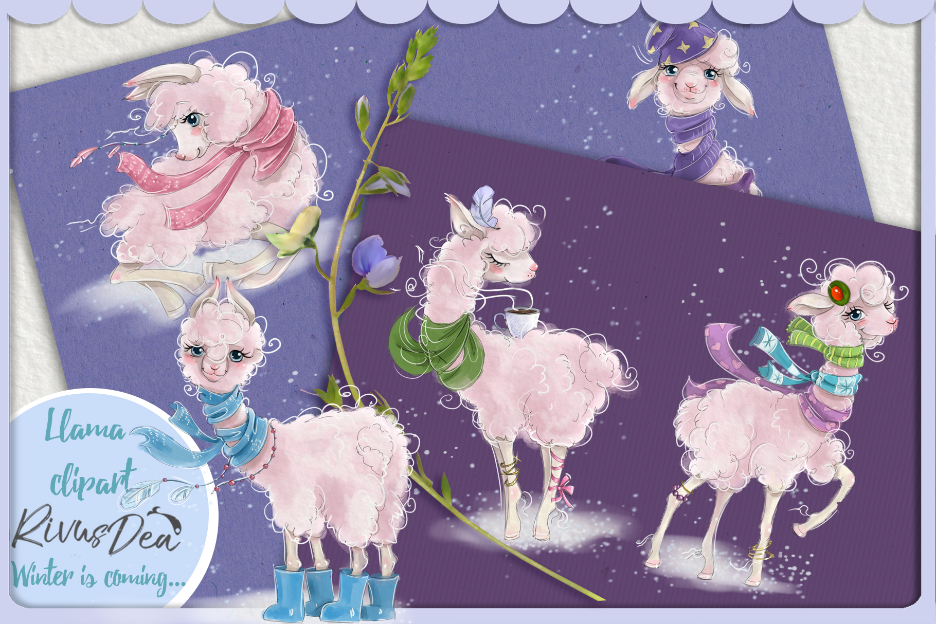 Cute llama alpaca clipart kit baby animals example image 1