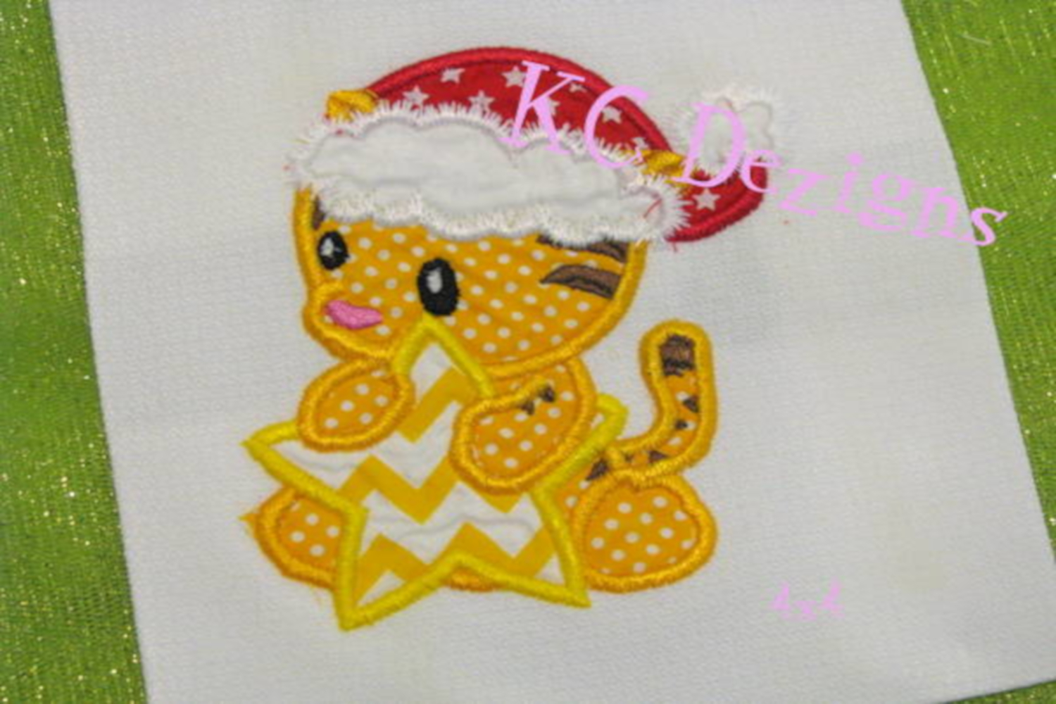 Christmas Baby Tiger Machine Applique Embroidery Design example image 3