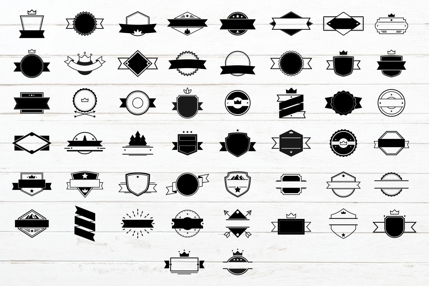 100 Badges and Frames Bundle, Labels/ Logo Kit Vector Icons. example image 2